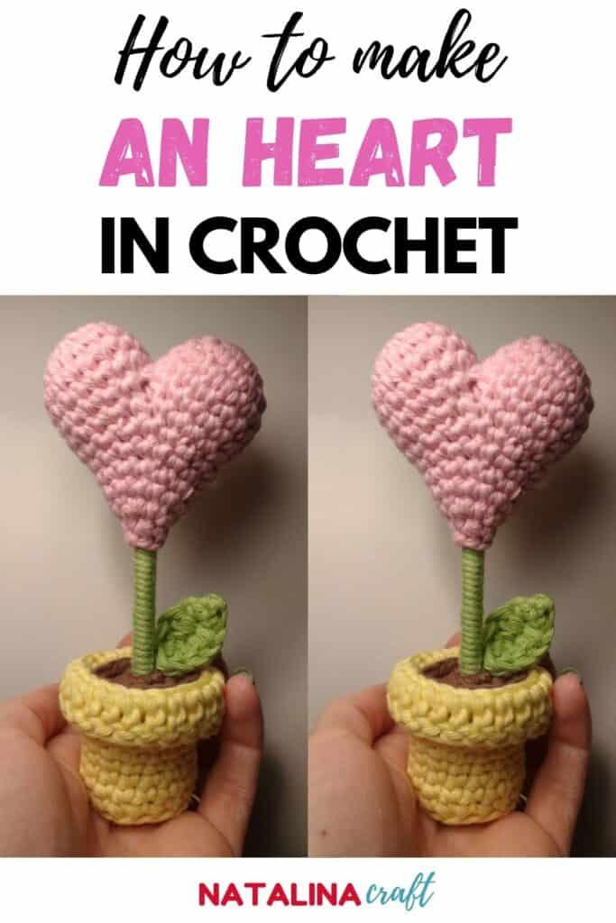 pin showing a heart flower in crochet