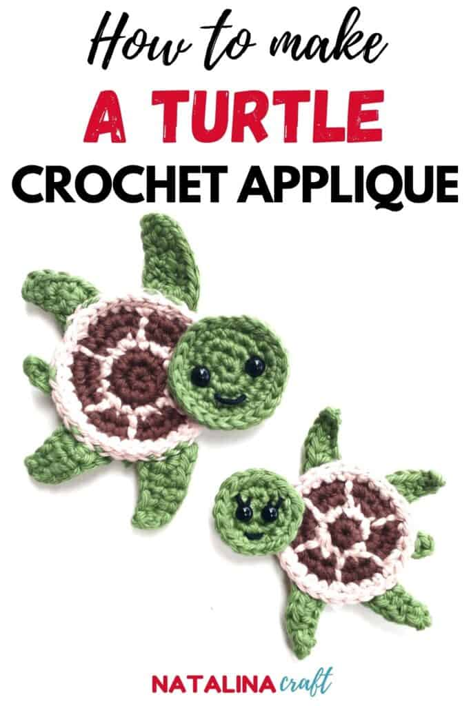 pin showing how to crochet a turtle applique