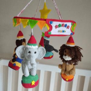crochet circus baby mobile