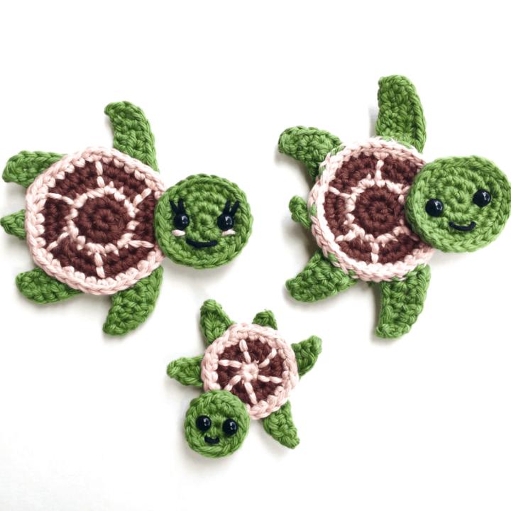 crochet applique turtles