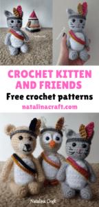 Crochet kitten and friends