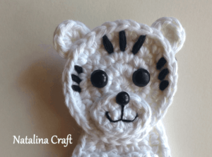 crochet pattern white tiger applique