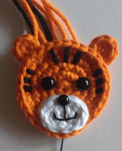 crochet applique tiger head