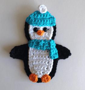 crochet applique penguin