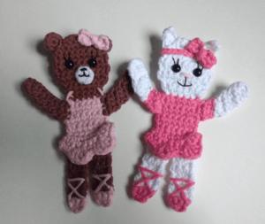 crochet applique ballerina bear