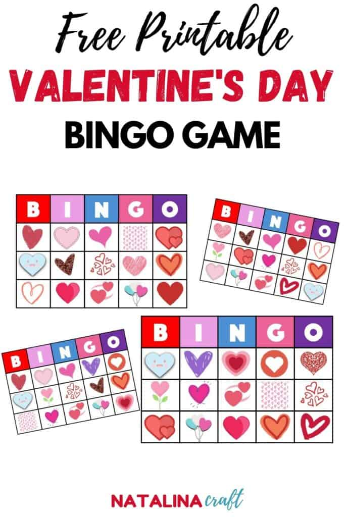 pin showing a bingo game for valentines day