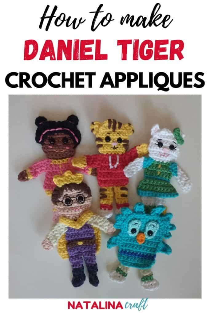 Pin showing how to crochet 5 daniel tiger appliques