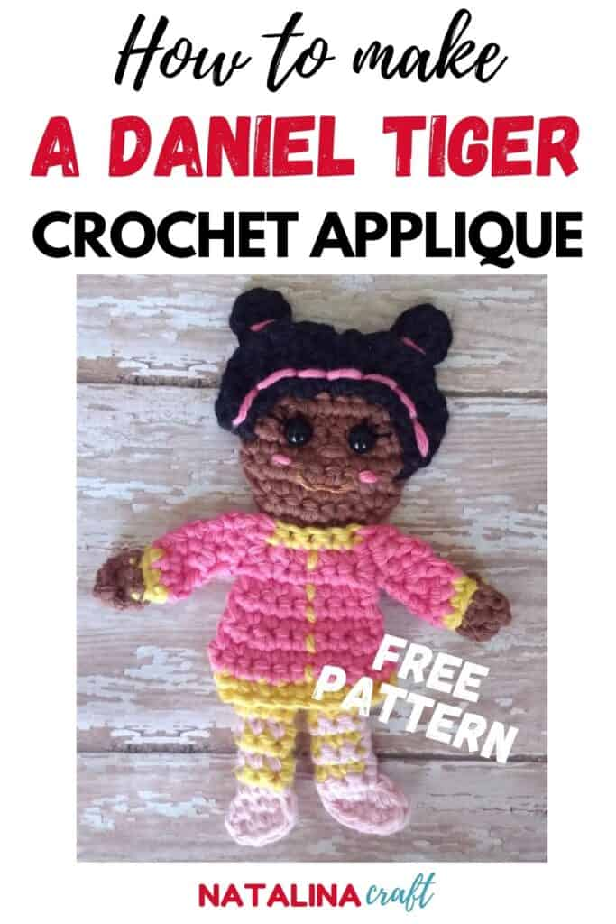 Pin showing how to crochet a miss elaina applique