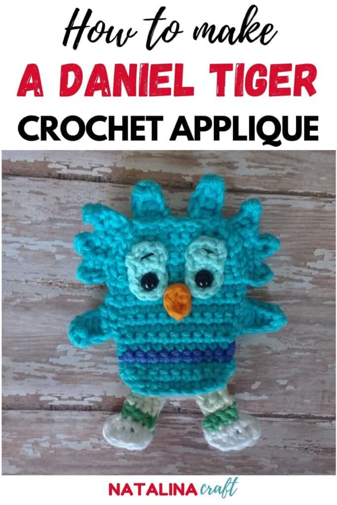 Pin showing how to crochet an owl applique